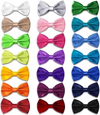 AVANTMEN Men's Bowties Formal Satin Solid - 12 Pack Bow Ties Pre-tied Adjustable Ties for Men Many Colors Option in bulk