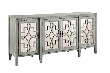 Attirant Stein World Furniture 4 Door Mirrored Credenza, Sage Gray