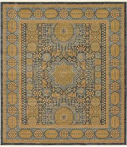 Unique Loom Palace Collection Traditoinal Geometric Classic Blue Square Rug 10 0 x 11 4