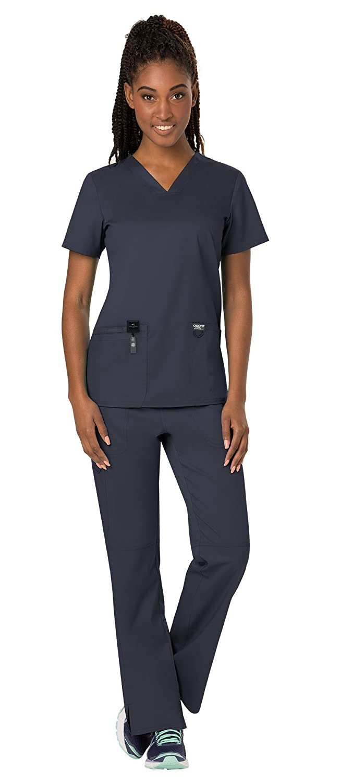 143cffcbf62 Amazon.com: Cherokee Workwear Revolution Women's Scrub Set Bundle - WW620  V-Neck Top & WW110 Pull On Pant & Marc Stevens Badge Reel: Clothing