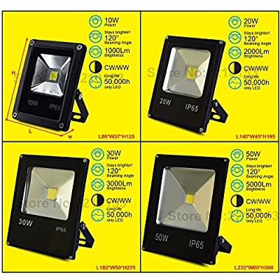 Warm White, 10W : Led Flood Light 10W 20W 30W 50W 100W Landscape outdoor Spotlight Waterproof AC85-265V