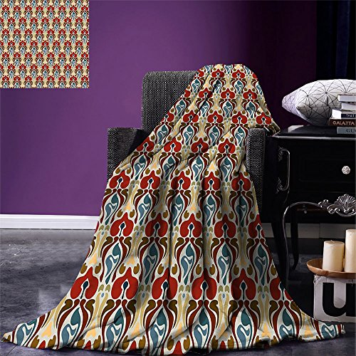 smallbeefly Red and Brown Lightweight Blanket Art Nouveau Style Pattern with Abstract Orchid Flowers Antique Ornamental Digital Printing Blanket Multicolor