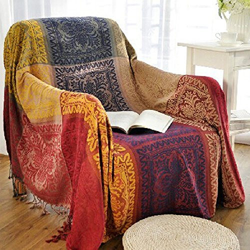 60' x 75' Chenille Jacquard Tassels Throw Blankets for Bed Couch Decorative Soft Chair Cover - Colorful Tribal Pattern (M)