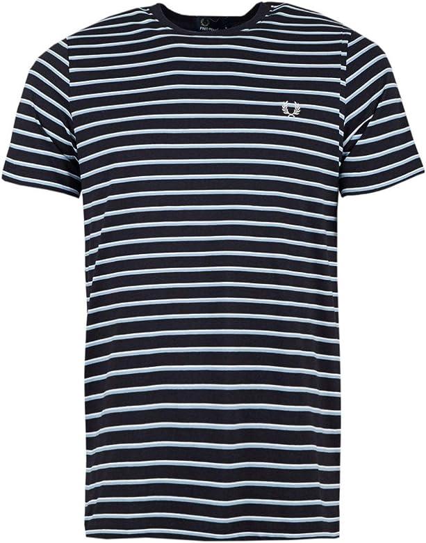 Fred Perry Hombres Camiseta de Rayas Finas m5573 608 Marina De Guerra M: Amazon.es: Ropa y accesorios