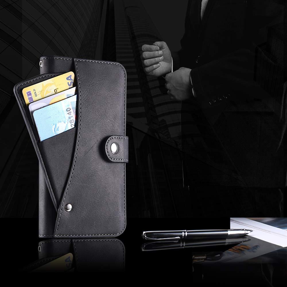 Moto G6 Plus Case,Moto G6 Plus Wallect Case, Flip Leather Case 5 Cards / 1 Photo Slot/Cash Pocket PU Cover with Wrist Strap [Wallet Stand] Phone Case for Moto G6 Plus (Black) by okasis (Image #8)