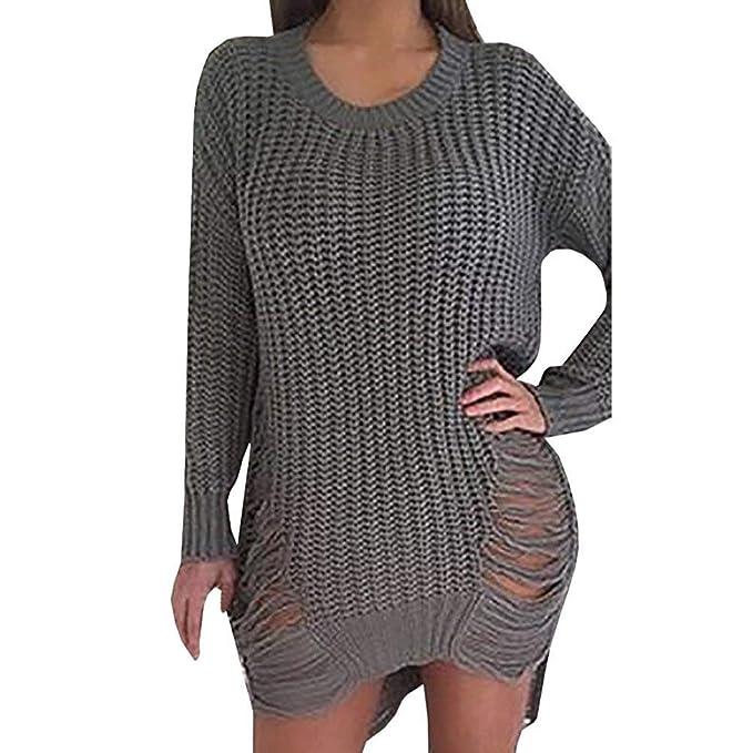 Laisla fashion Suéter De Mujer Suéter Áspero Largos Elegante Otoño Invierno Manga Larga O Cuello Vestidos
