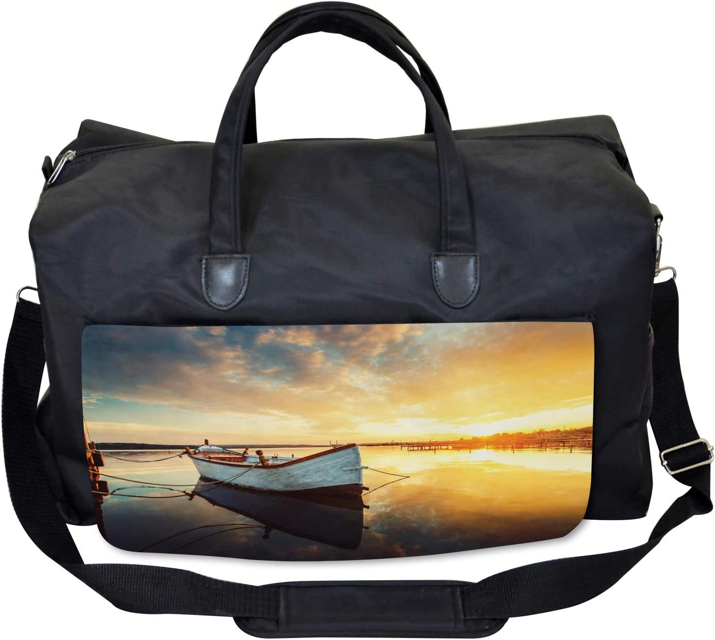 Sunset at Harbor Boat Ambesonne Holiday Gym Bag Large Weekender Carry-on