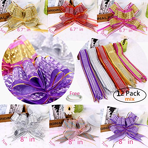 (Elegant Gift Pull Bows for Birthdays Wedding Easter Christmas,MeetRade 12PACK 8