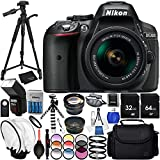 Nikon D5300 with AF-P DX 18-55mm f/3.5-5.6G VR 23PC Accessory Bundle - Includes 72'' Tripod + Automatic Flash with LED Light + 64GB & 32GB SD Memory Card + Medium Carrying Case + MORE