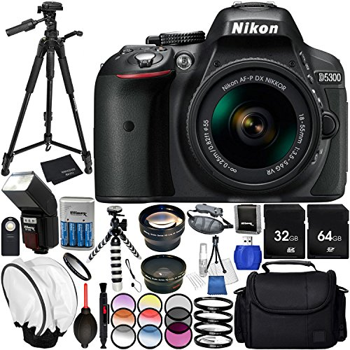 Nikon D5300 with AF-P DX 18-55mm f/3.5-5.6G VR 23PC Accessory Bundle - Includes 72