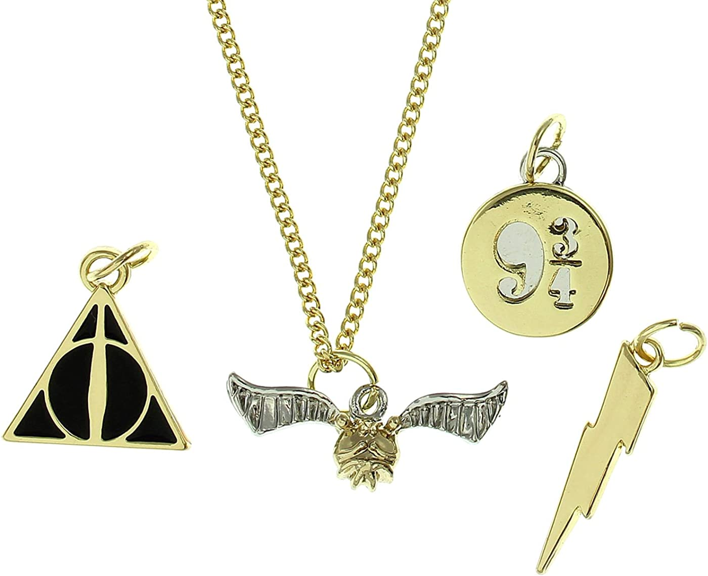 Bioworld Harry Potter Snitch Deathly Hallows Lightening 9 3/4 Multi Charm Choker Necklace