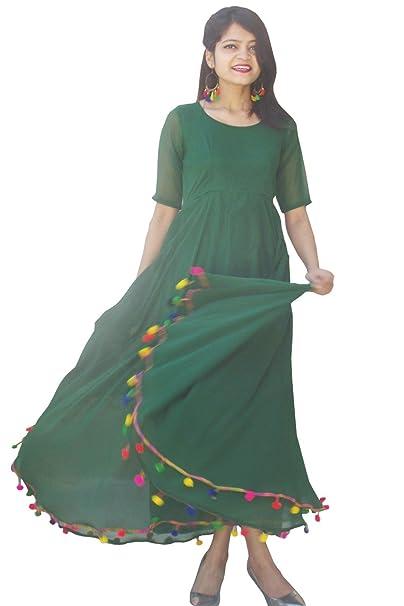 1fc11a0e5f Rajkumari Green Georgette with Shantoon Lining Lashkara, Anarkali Dress for  women: Amazon.in: Clothing & Accessories