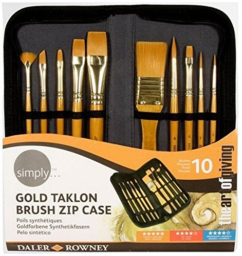 simply acrylic gold taklon brush zip case 10pc the art of giving