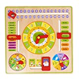 Baby Toy,amazingdeal Toddler Kids Wooden Board Toy Cognitive Calendar Clock Multifunction Siding Early Education Toys