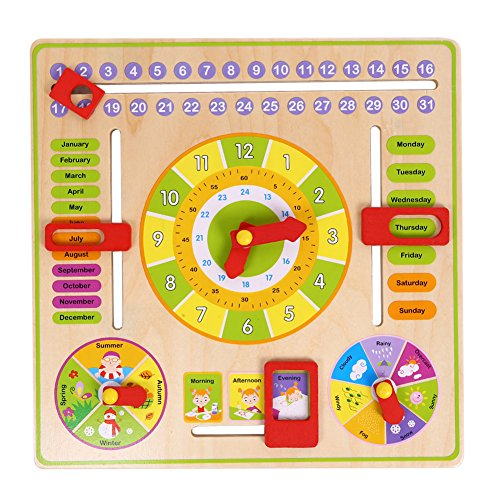 Chinatera Wooden Daily Cognitive Calendar Clock Hanging Board Early Education Toys by Chinatera