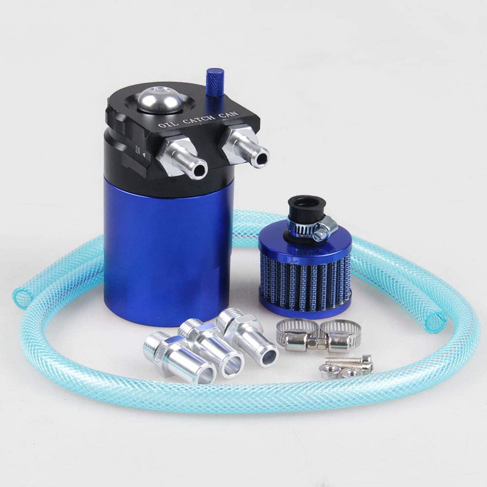 BEESCLOVER 300/ml Cilindro Aluminum Engine Oil Catch Reservoir Breather Tank Can con Filtro