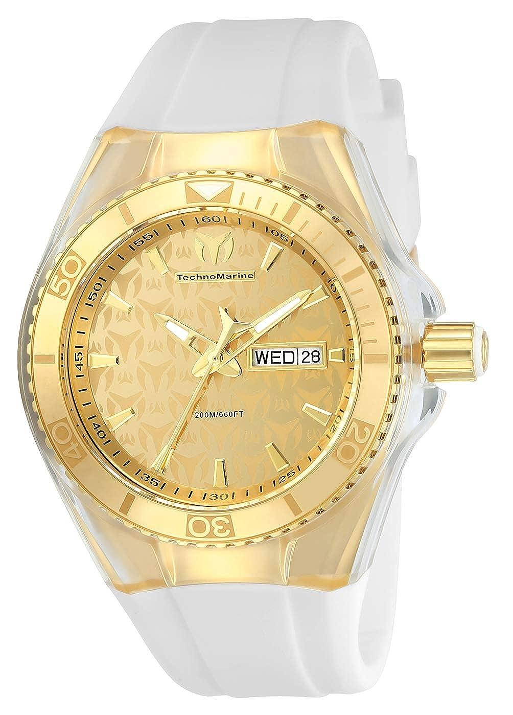 Technomarine Women s Cruise Monogram Stainless Steel Quartz Watch with Silicone Strap, White, 26 Model TM-115022