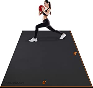 Large Exercise Mat 6'x4'x7mm Workout Mats for Home Gym Mats Gym Flooring Rubber Workout Mat Fitness Mat Large Yoga Mat Cardio Mat for Weightlifting, Jump Rope, MMA, Stretch, Plyo, Pilates, Non-Slip
