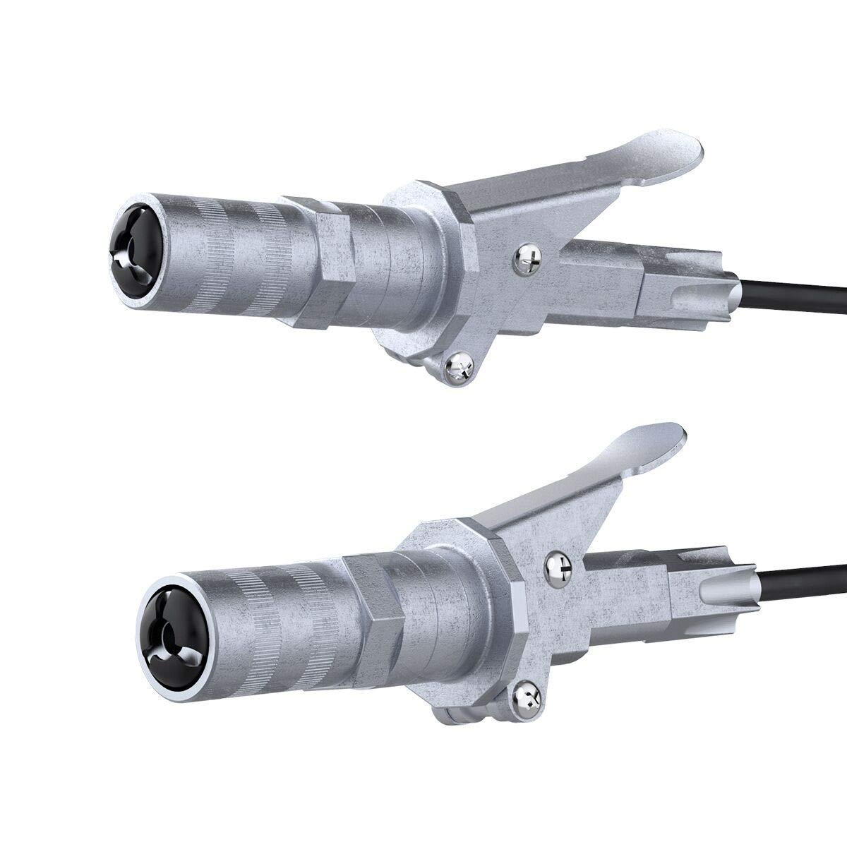 JoyTutus Grease Coupler Locks onto Zerk Fittings Rated 12,000 PSI 1/8 inch NPT Extended Grease Gun Coupler (Two Pack) by JoyTutus