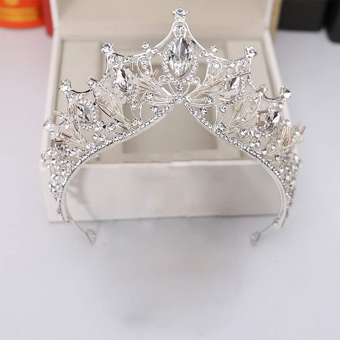 Gold Crown+Earring Wedding Crown for Bride Rhinestone Princess tiara for Women Prom Queen Crown Pageant-Bridal Wedding Crown Handmade Hair Accessories Rose Gold Crown