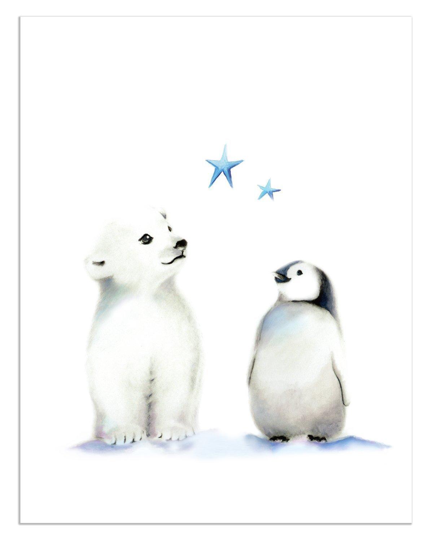 amazon com penguin and polar bear nursery art set of 3 arctic