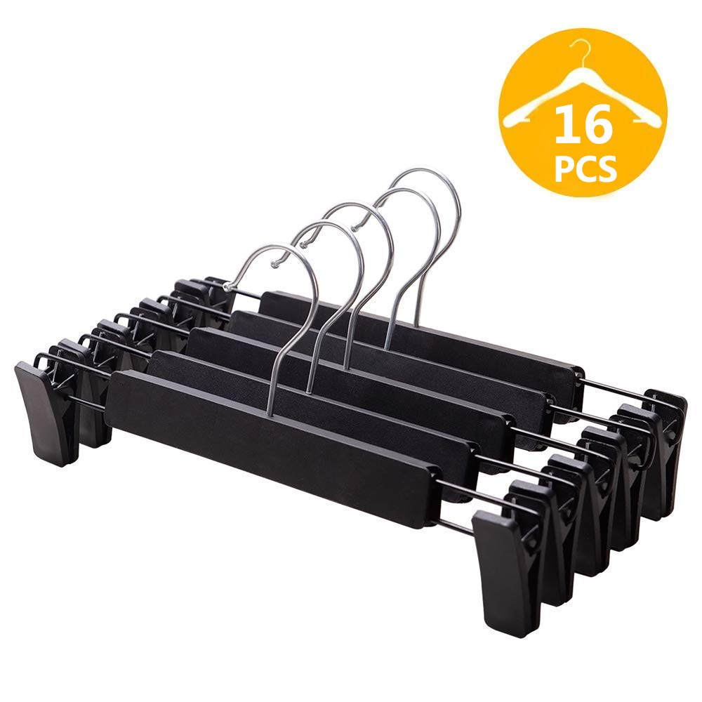 VEHHE Pants Hangers Skirt Hangers, 16 Pack Black Plastic Dress Trousers Pant Hanger with Non-Slip Big Clips and 360 Rotatable Hook (Black) (Black) by VEHHE