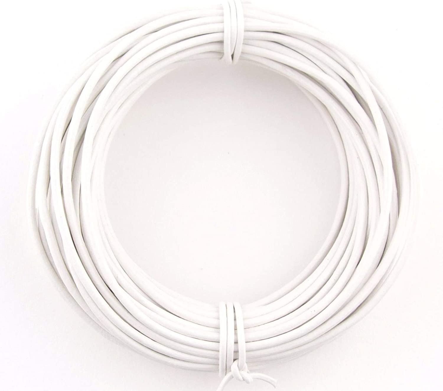 White Round Leather Cord 1.5mm 10 meters 11 yards