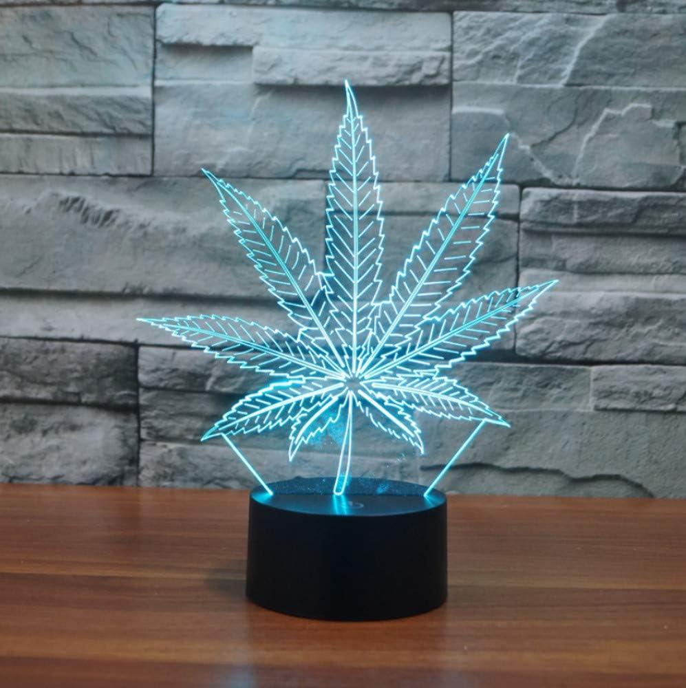 Lámparas de mesa LED 3D Lámpara de noche de hoja de marihuana Lámpara LED de luz nocturna 7 gradiente de color Lámpara Mejores regalos