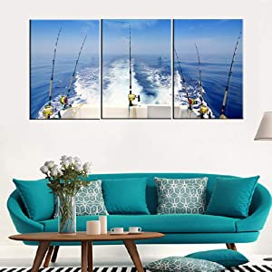 Angling Paintings for Living Room Fishing Tackle Wall Art Seascape Pictures 3 Panels Printed on Canvas Stretched Home Modern Decor Contemporary White Artwork Giclee Framed Ready to Hang(48''Wx 24''H)