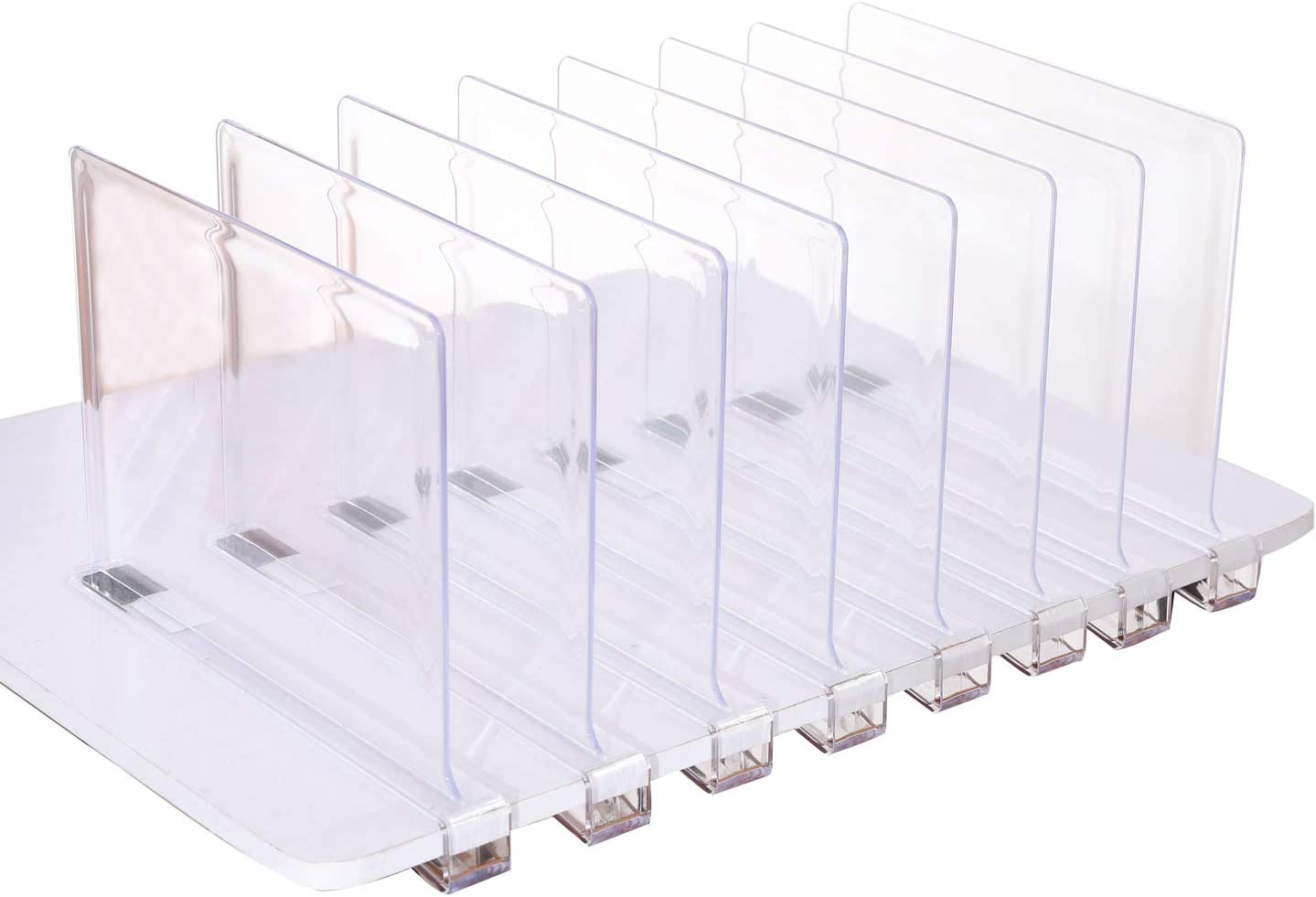 Ideal for for Closets Kitchen Bedroom HighFree Set of 4 Acrylic Shelf Dividers Useful Shelving Organzing Tool Without Drilling,Shelving Organization to Organize Clothes Books,Towels