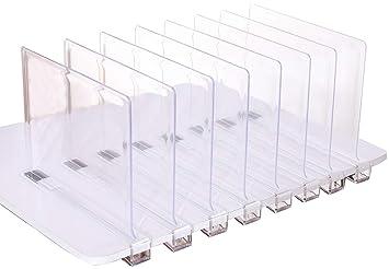 4 separadores de estante de acrílico, perfecto para armarios, cocina, dormitorio, organización