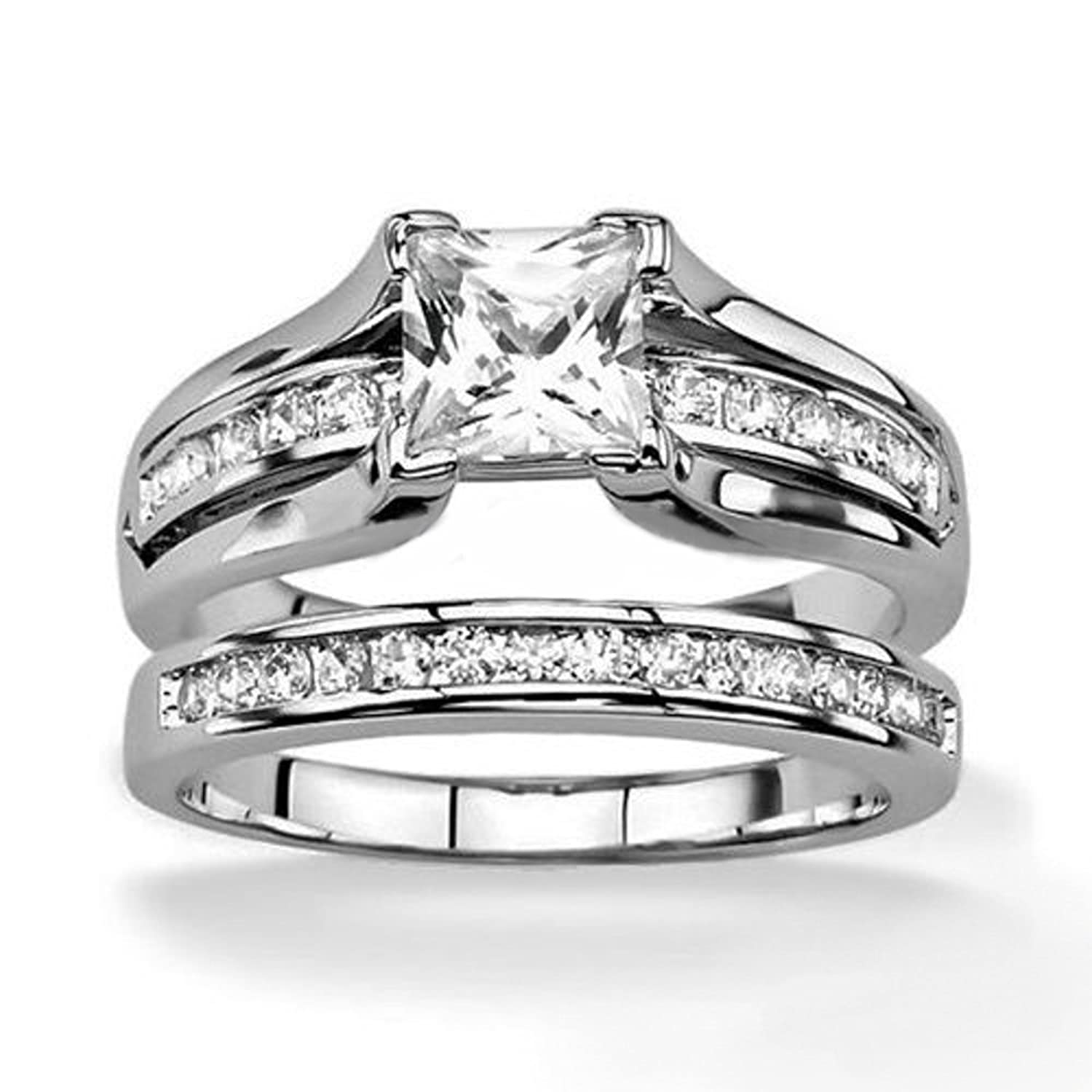 hers and his stainless steel princess wedding ring set
