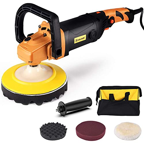 Car Buffer Polisher, GOLDKIN 7-Inch 1400W 6 Variable Speed Polisher, Rotary Orbital Polisher, Detachable Handle Soft Start Fault Indicator for Car Polishing Buffing Waxing Sanding Sealing Glaze