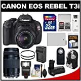 Canon EOS Rebel T3i Digital SLR Camera and 18-55mm IS II Lens with 75-300mm III Lens + 32GB Card + Backpack + LED Flash + Grip + Battery Kit, Best Gadgets