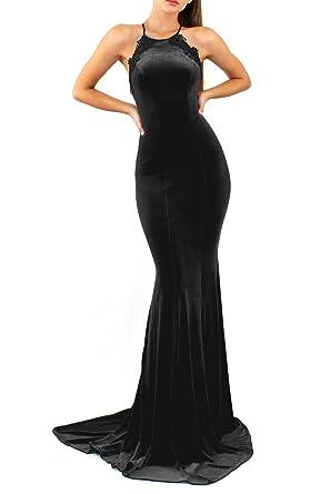 Romantic Long Velvet Mermaid Prom Dresses Halter Backless Evening Party Gowns