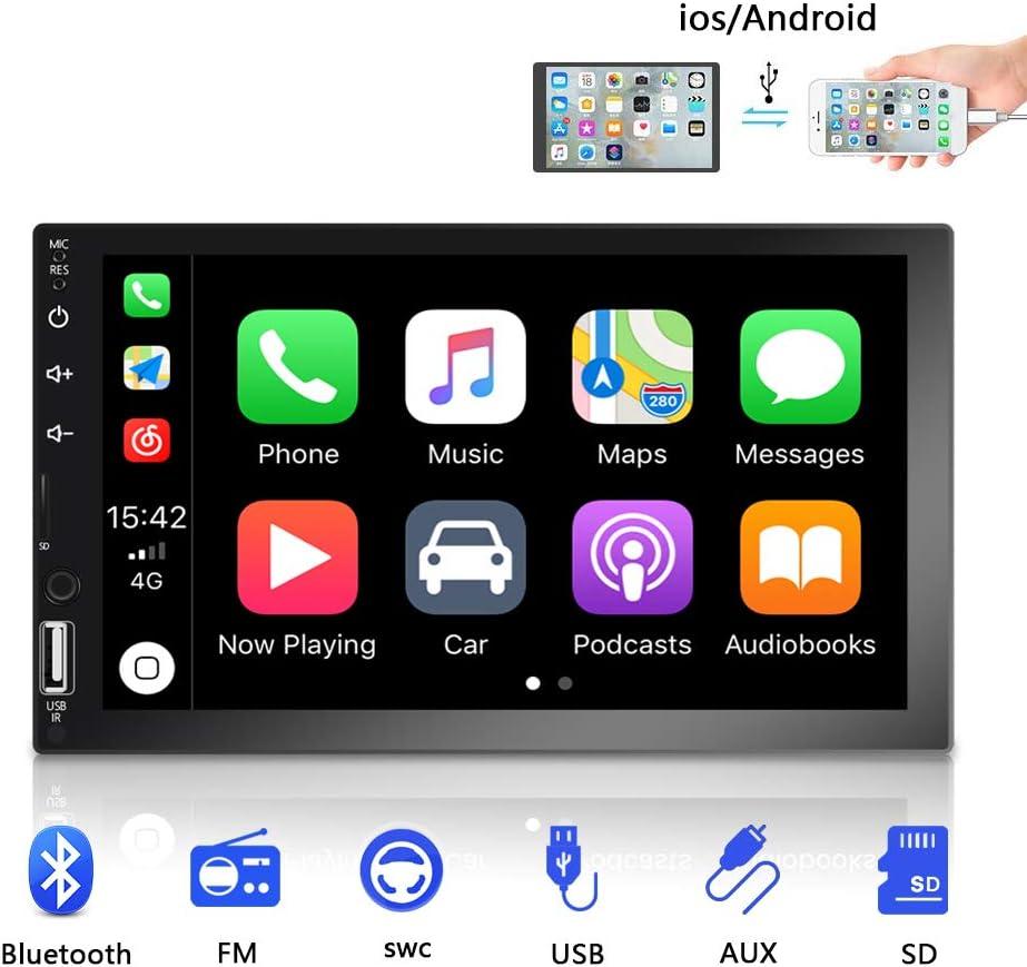 radio coche 2 din, 7 pantalla táctil HD reproductor multimedia para automóvil, compatible con Bluetooth / Radio FM / TF / USB / Mirror Link / cámara de visión trasera.: Amazon.es: Electrónica