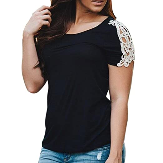 DondPO Sexy Women Short Sleeve Round Neck Tops Patcwork Loose Blouse Shirt Casual Tee Shirt Lace