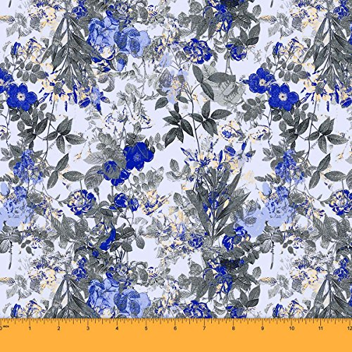 Soimoi 44 Inches Wide Dressmaking Craft Sewing Floral Print Georgette Fabric by The Yard - Blue - Blue Floral Georgette