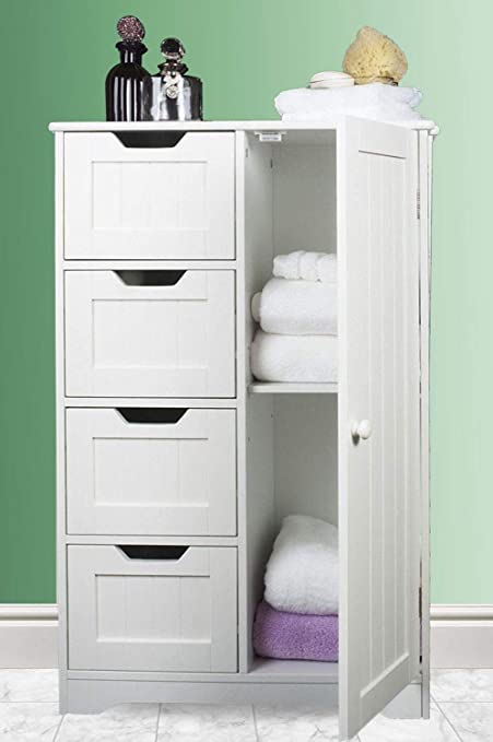 ASAB 4 Drawers Unit White Wooden Bathroom Cabinet Storage Unit Mirror Door Wall Mounted Free Standing
