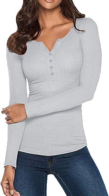 Auifor Camisas Henley para Mujer con Cuello en V Manga Larga, botón sólido, Abajo Camisetas básicas Camisetas: Amazon.es: Ropa y accesorios
