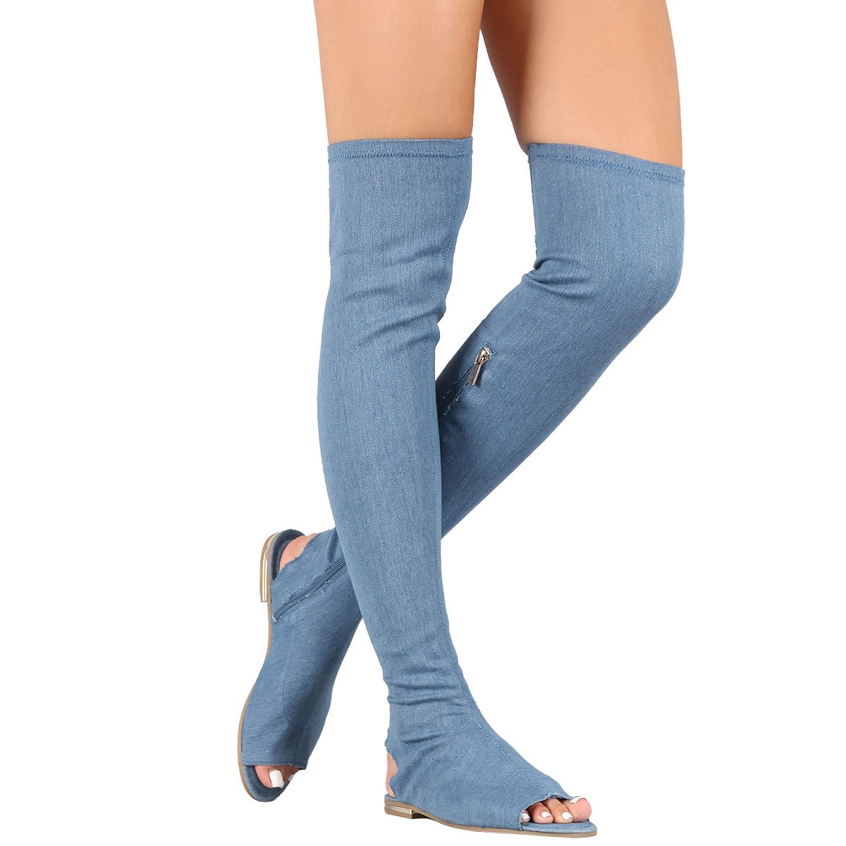 Bamboo Womens Pee Toe Silhouette Stretch Over The Knee Thigh High Side Zipper Flat Sandal Boot 8 Denim