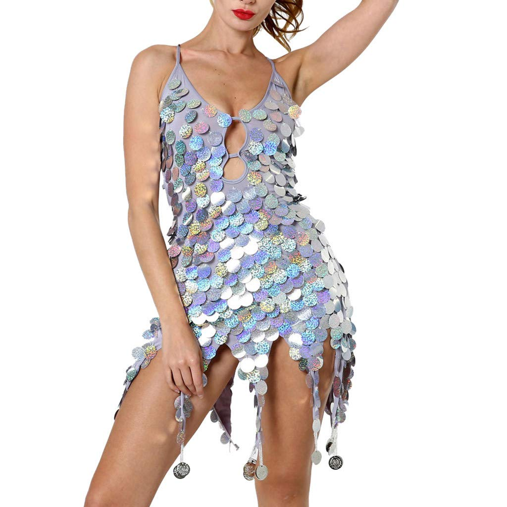 Tantisy ♣↭♣ Women Latin Dance Dress Sexy Halter Sequins Tassel 1920s Flapper Dress Silver