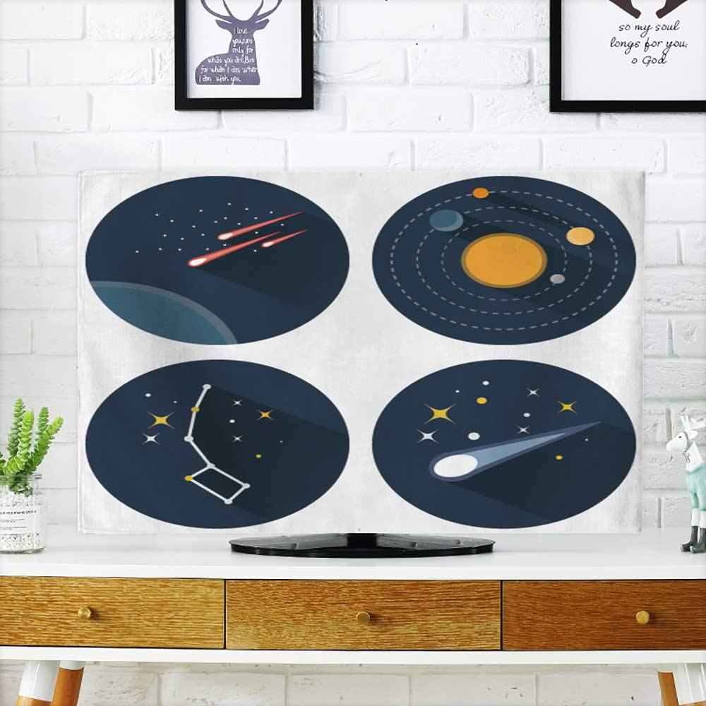Analisahome tv Protective Cover Space Stars Constellations Galaxies and Comets Solar System Vector Flat tv Protective Cover W35 x H55 INCH/TV 60'' by Analisahome