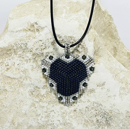 Beaded Pendant Necklace, Bead Woven Peyote Triangle Pendant Necklace, Swarovski Bi-Cone Crystals, Blue/Silver/White Seed Beads, Mother's Day Gift, Gift for (Swarovski Seed Beads)