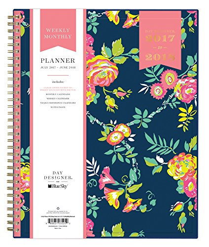 Day Designer for Blue Sky 2017-2018 Academic Year Weekly & Monthly Planner, Twin-Wire Bound, 8.5