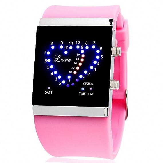 Skmei unisex correa de goma reloj digital para niña PU luminoso amor LED luz recargable conservación + caja: SKMEI: Amazon.es: Relojes