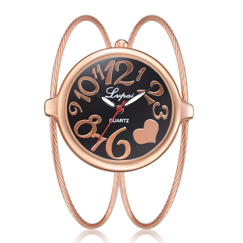 yanbirdfx Fashion Women Big Round Dial Heart Open Bangle Double Layer Quartz Wrist Watch - Rose Gold + Black
