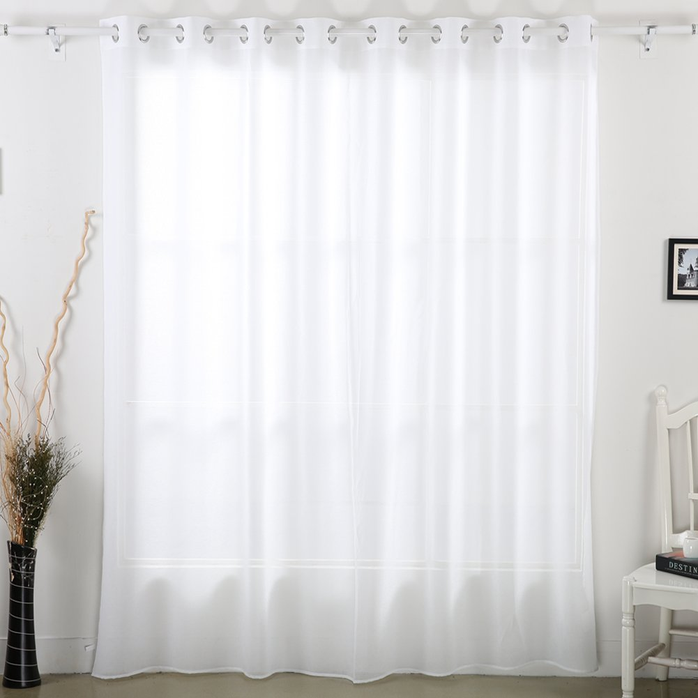 Amazon.com: Deconovo Voile Sheer Curtain Linen Look Wide Width ...