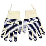 Oven Glove,Heat Resistant Oven Mitts with Fingers,Hot Surface Handler-Kitchen Gloves 1 Pair for Cooking,Baking,BBQ,Grilling