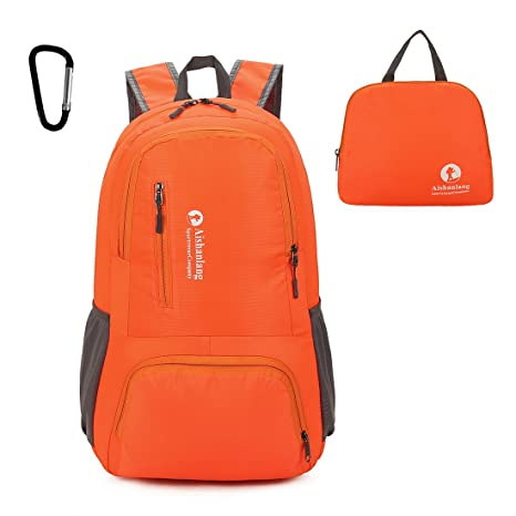 dac15fda6d Amazon.com  Mooedcoe Ultra Lightweight Packable Backpack Water Resistant  Hiking Daypack Handy Foldable Camping Outdoor Backpacks Little Bag Orange   Mooedcoe